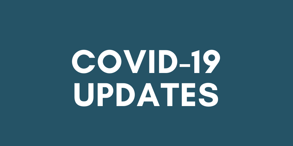 Blue background with white text says COVID-19 Updates