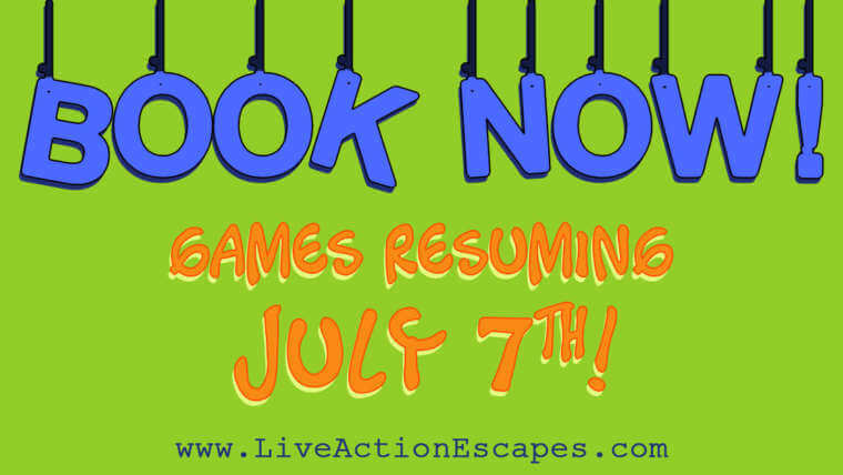 Green background with blue and orange text saying book now! games resuming july 7th!